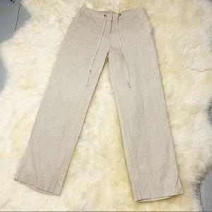 Charter club cream Linen drawstring pants, 4petite